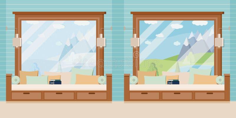 Drewniany izbowy nadokiennej ramy set z książką i poduszki w płaskiej kreskówce projektujemy ilustracja wektor