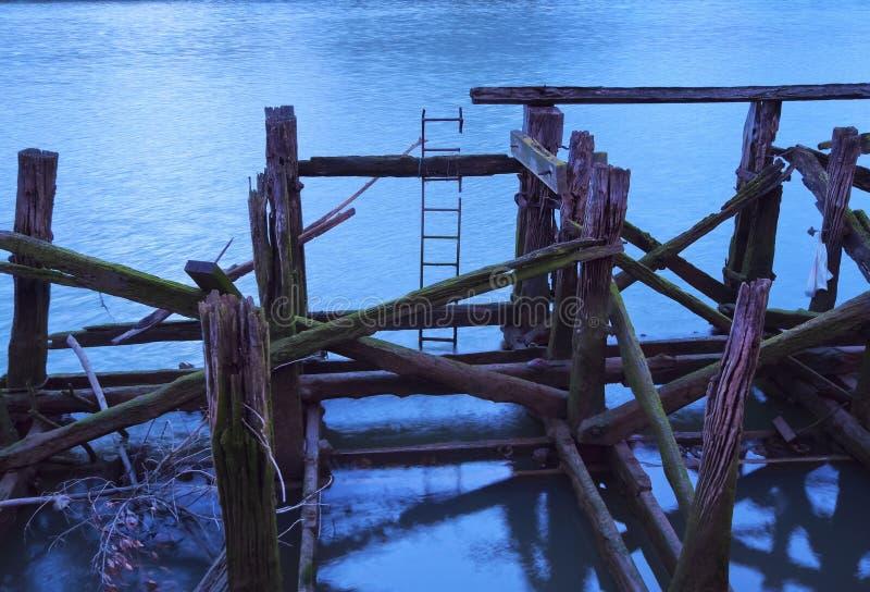 Drewniany Jetty w Bilbao fotografia stock