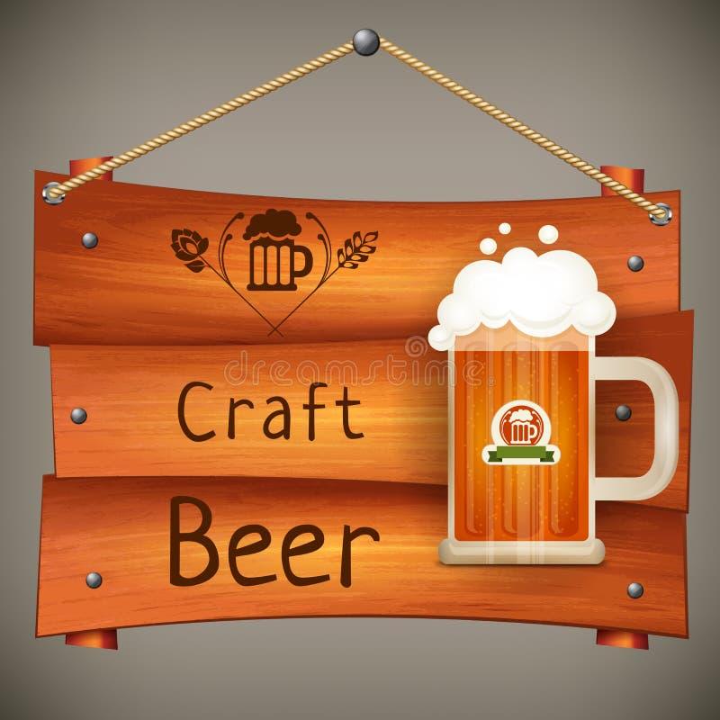 Drewniany karczemny signboard z kubkiem piwo royalty ilustracja