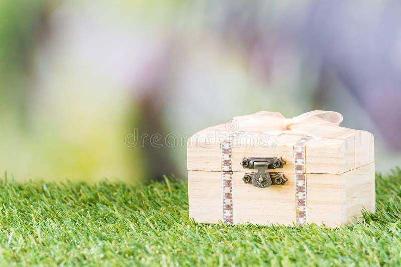 Drewniany kaseton na trawie zdjęcia stock