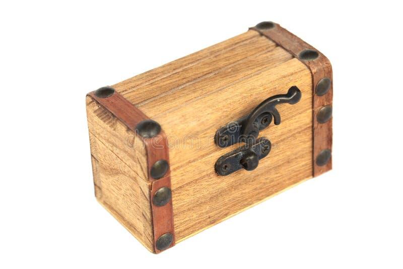 Drewniany kaseton z metalu kędziorkiem odizolowywającym na bielu obrazy stock