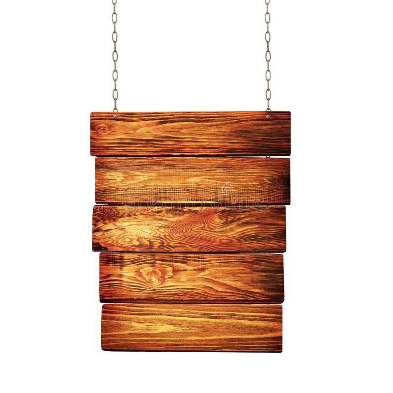 Drewniany kierunkowskazu obwieszenie na łańcuchach obraz royalty free
