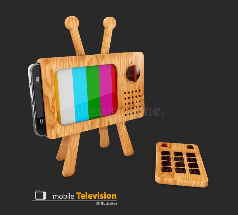Drewniany klasyk tv i mądrze telefon, kolorowy żadny sygnałowy tło, 3d ilustracja ilustracja wektor