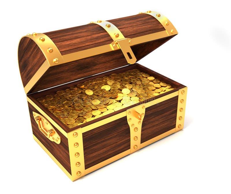 drewniany klatka piersiowa skarb royalty ilustracja