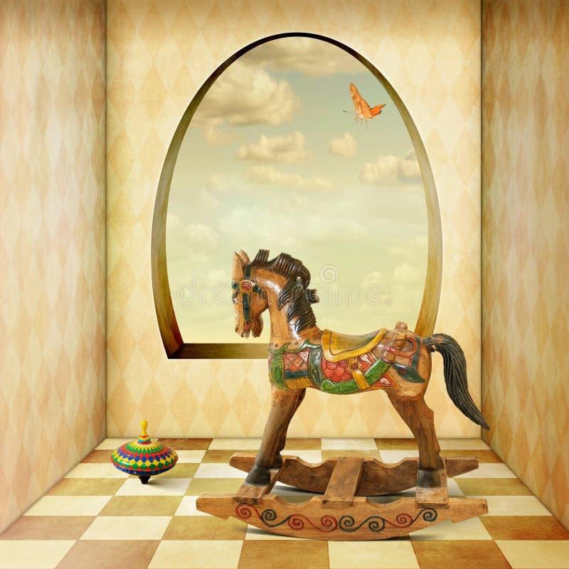 Drewniany kołysa koń ilustracja wektor