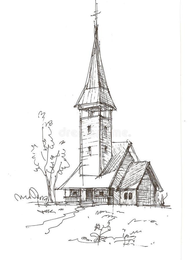 drewniany kościelny nakreślenie ilustracja wektor