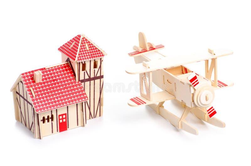 Drewniany konstruktora modela domu samolot obrazy royalty free