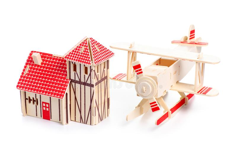 Drewniany konstruktora modela domu samolot fotografia stock