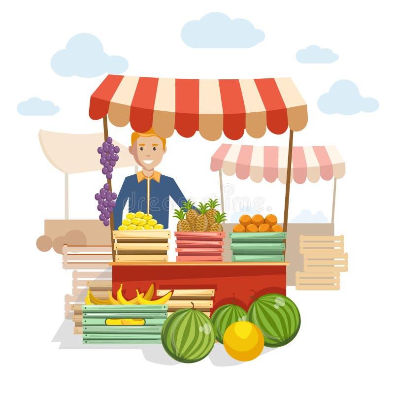 Drewniany kontuar z wyśmienicie jagodami przy rynkiem i owoc ilustracji