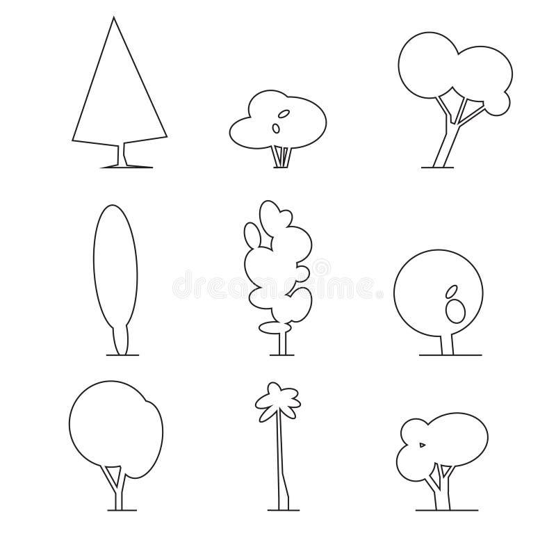 Drewniany konturu set ilustracji