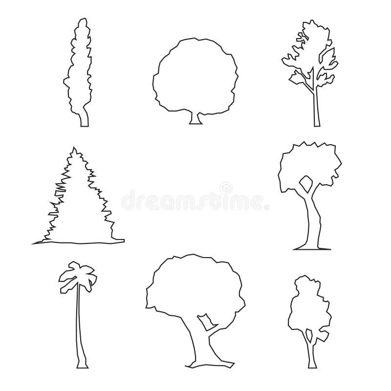 Drewniany konturu set royalty ilustracja