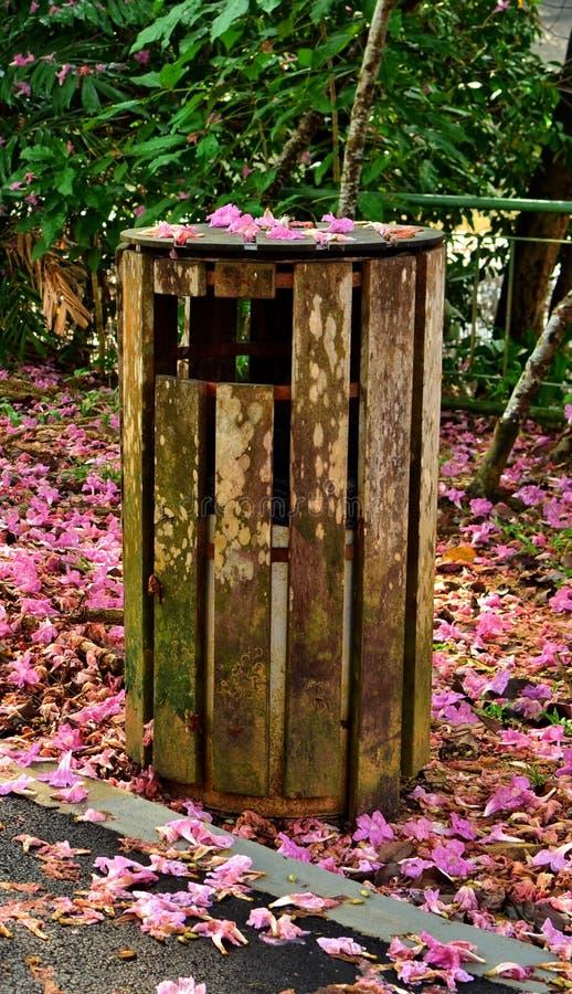 Drewniany kosz na śmiecie obrazy stock