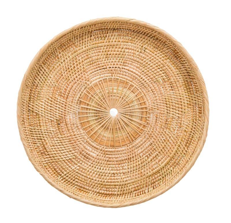 Drewniany koszykowy łozinowy drewniany w handmade odgórnym widoku zdjęcia royalty free