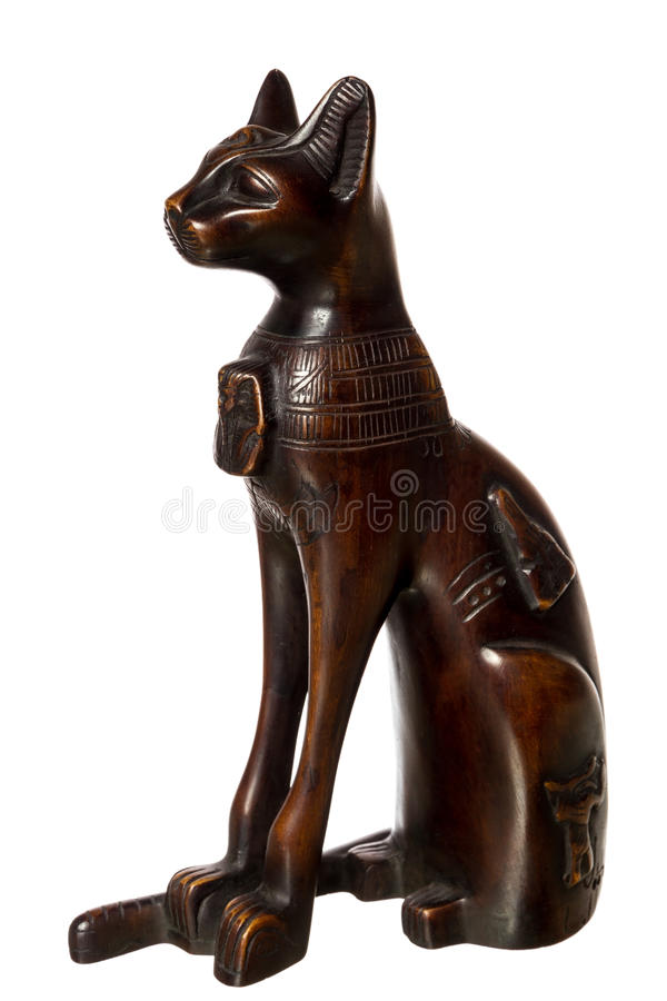 Drewniany kot - pamiątka od Egipt fotografia royalty free