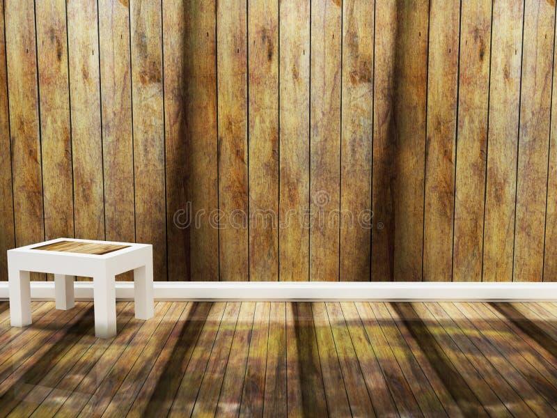 Drewniany krzesło w pustym pokoju royalty ilustracja
