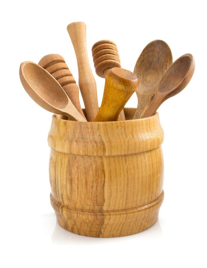 Drewniany kuchenny naczynie na bielu zdjęcie royalty free
