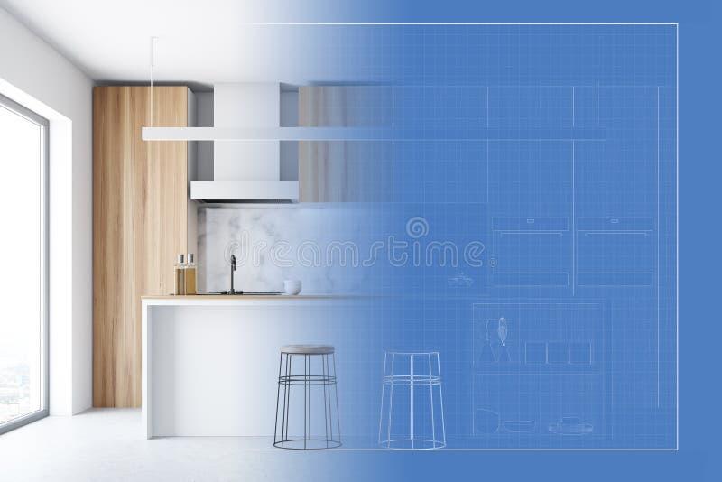Drewniany kuchenny wnętrze i swój projekt ilustracja wektor
