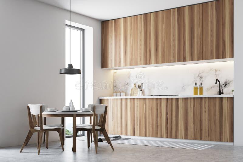 Drewniany kuchnia kąt, round stół ilustracji