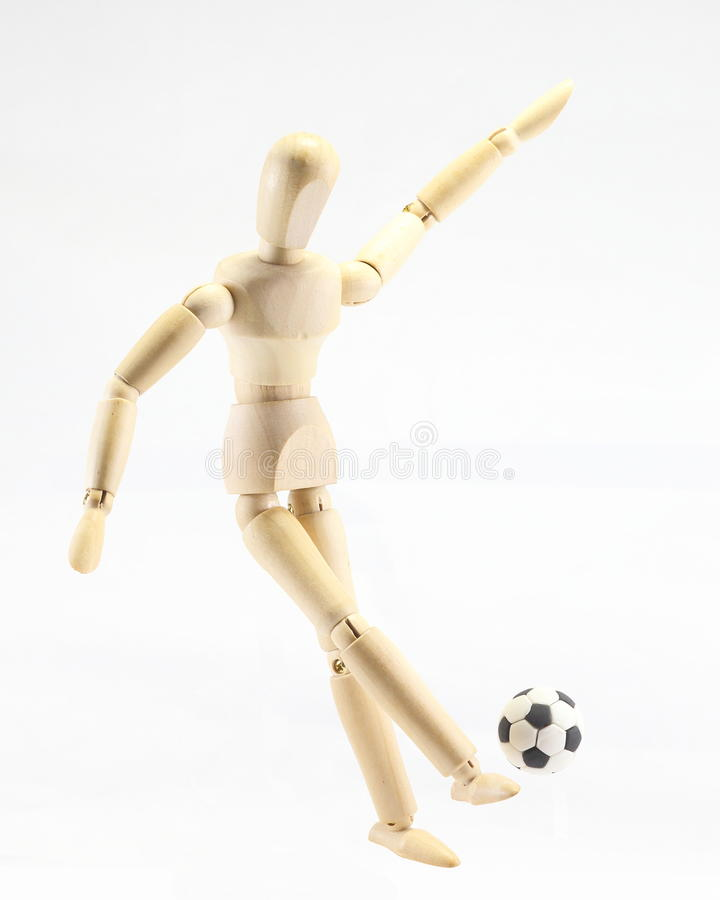 Drewniany kukiełkowy playig futbol fotografia stock