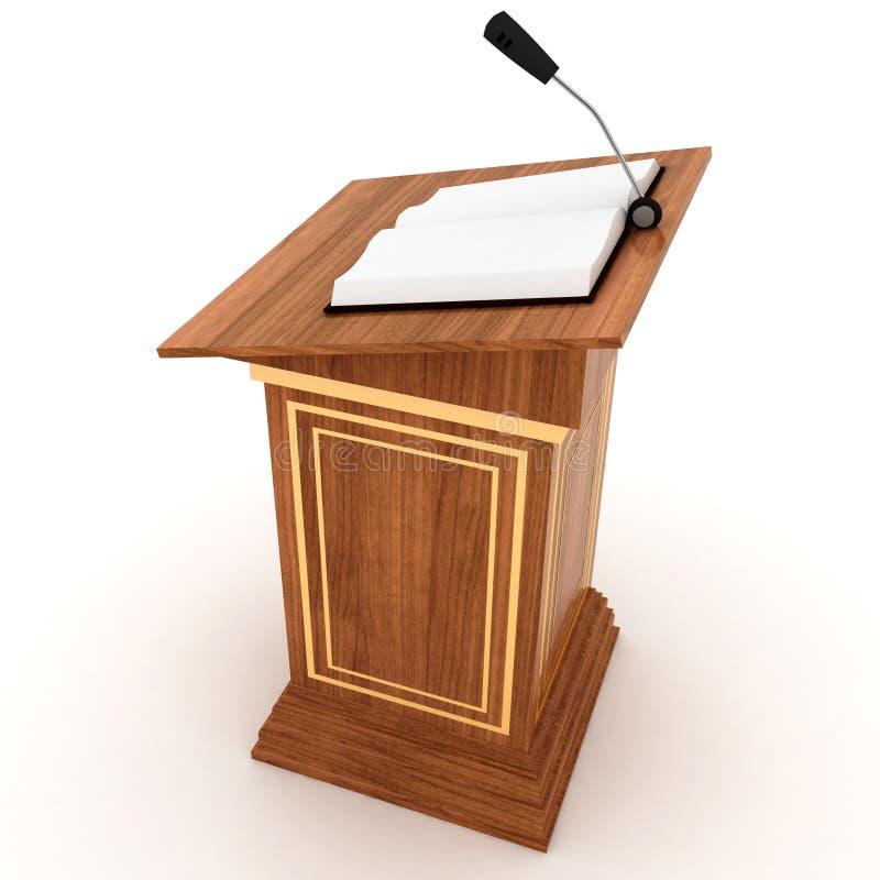 Drewniany mównica stojak z mikrofonem ilustracja wektor