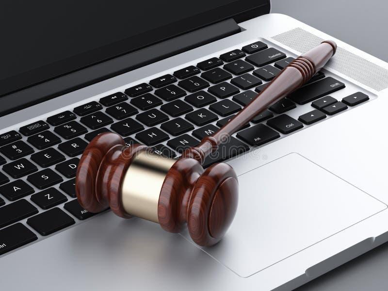 Drewniany młoteczek na laptopie ilustracja wektor