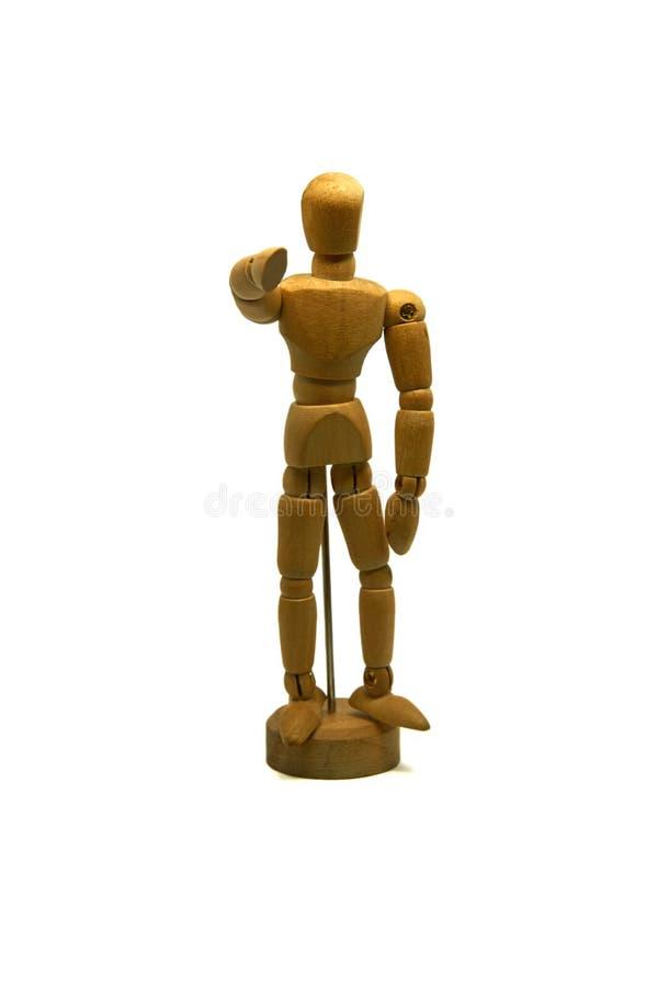 Drewniany mannequin, kukła, wskazuje jego palec przy tobą obrazy stock