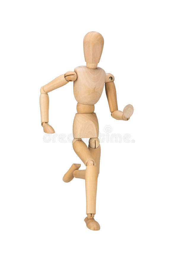 Drewniany mannequin, odizolowywający na białym tle fotografia royalty free