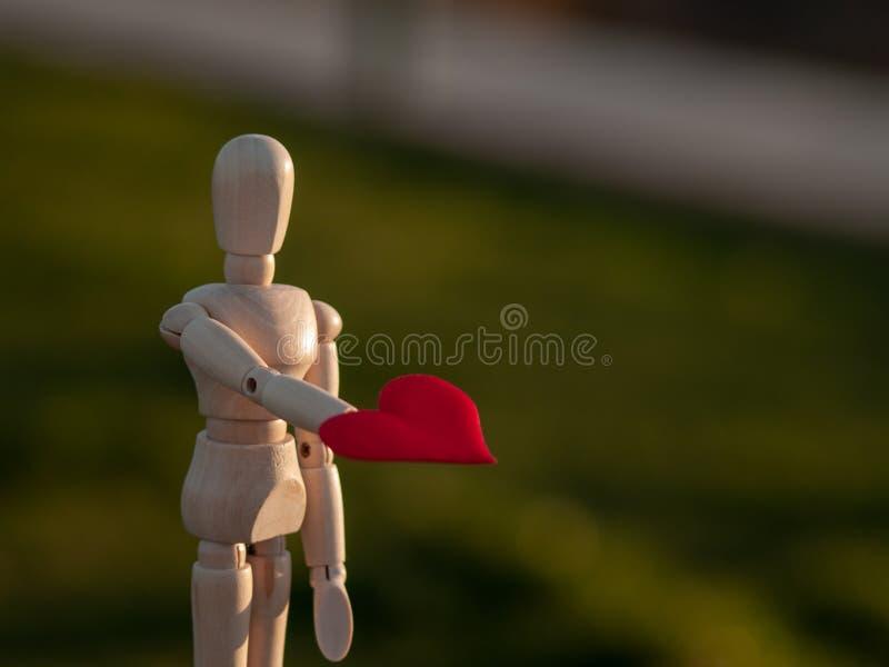 Drewniany mannequin z czerwonym sercem na jego wręcza pojęcie romantyka i miłość fotografia stock