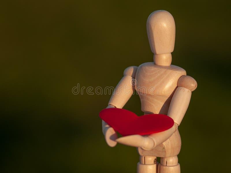 Drewniany mannequin z czerwonym sercem na jego wręcza pojęcie romantyka i miłość zdjęcia royalty free