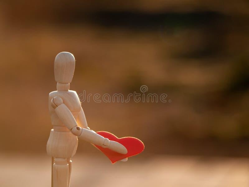 Drewniany mannequin z czerwonym sercem na jego wręcza pojęcie romantyka i miłość obrazy royalty free