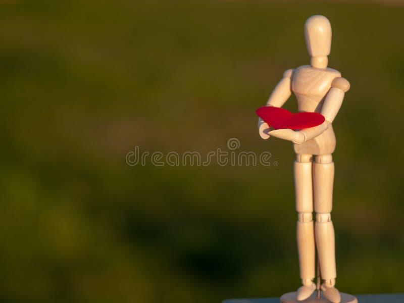 Drewniany mannequin z czerwonym sercem na jego wręcza pojęcie romantyka i miłość zdjęcie stock