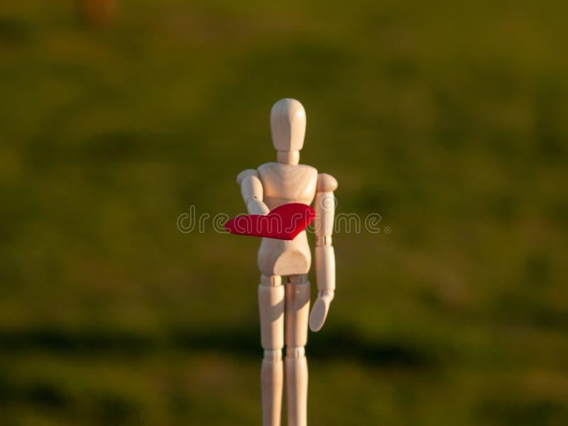 Drewniany mannequin z czerwonym sercem na jego wręcza pojęcie romantyka i miłość obraz stock