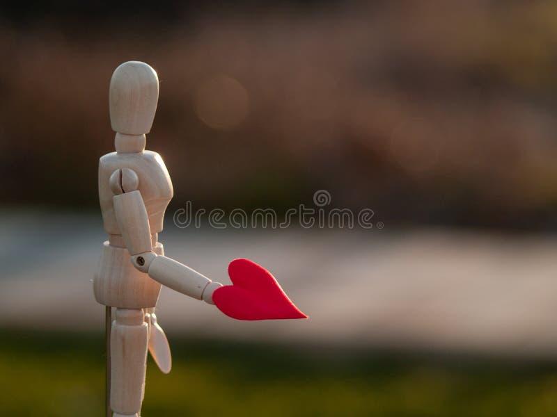 Drewniany mannequin z czerwonym sercem na jego wręcza pojęcie romantyka i miłość fotografia royalty free