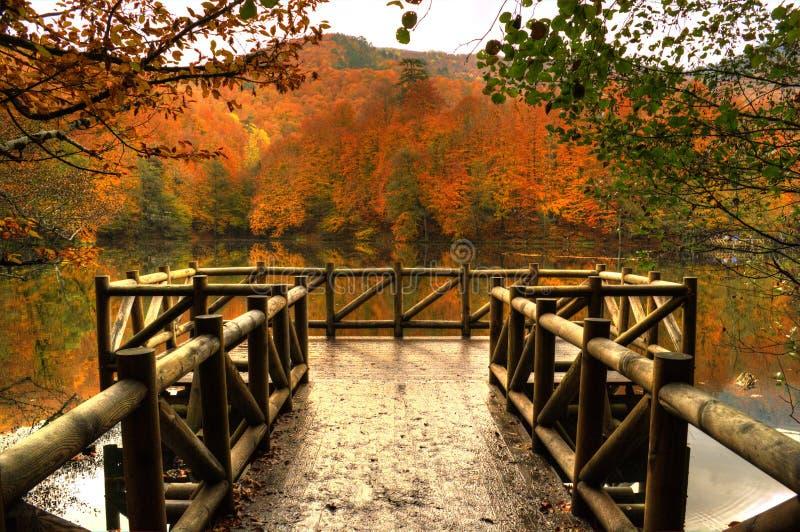 Drewniany molo, jesień w jeziorze obraz stock