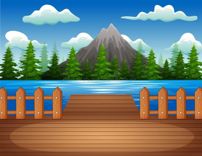 Drewniany molo przegapia górę i jezioro royalty ilustracja