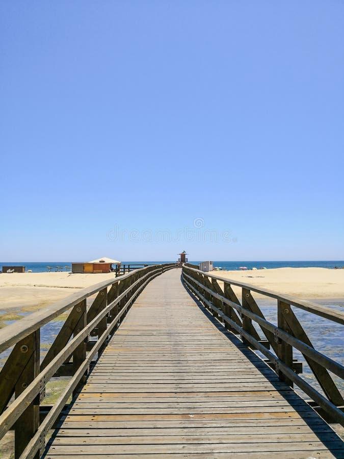 Drewniany most Cristina i Isla wyrzucać na brzeg w tle, Costa De Los angeles Luz, Huelva, Hiszpania w frontowej Punta Del Morał w obrazy stock