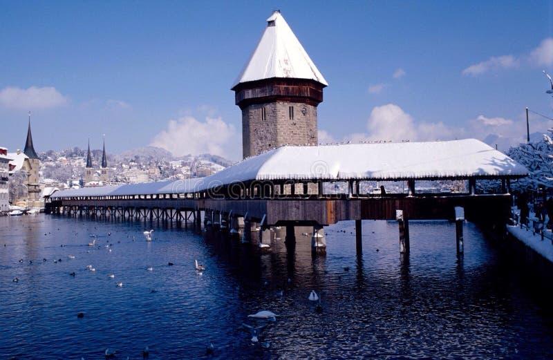 Drewniany most lucerna zdjęcie royalty free