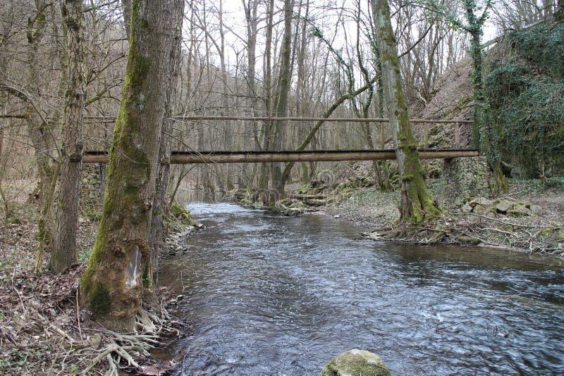 Drewniany most nad strumyka blisko kasztelem hrabiny Elisabeth BÃ ¡ thory, ÄŒachtice fotografia royalty free