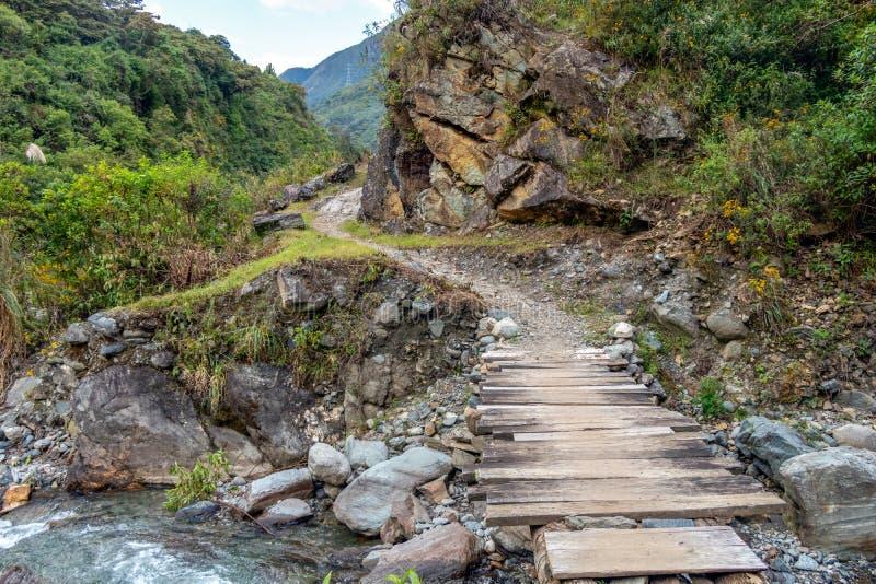 Drewniany most przez haln? rzek? fotografia stock