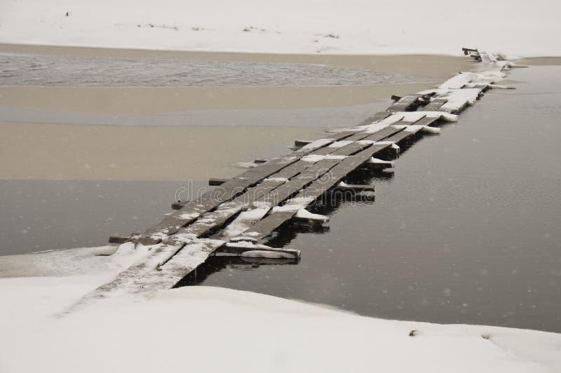 Drewniany most w śniegu