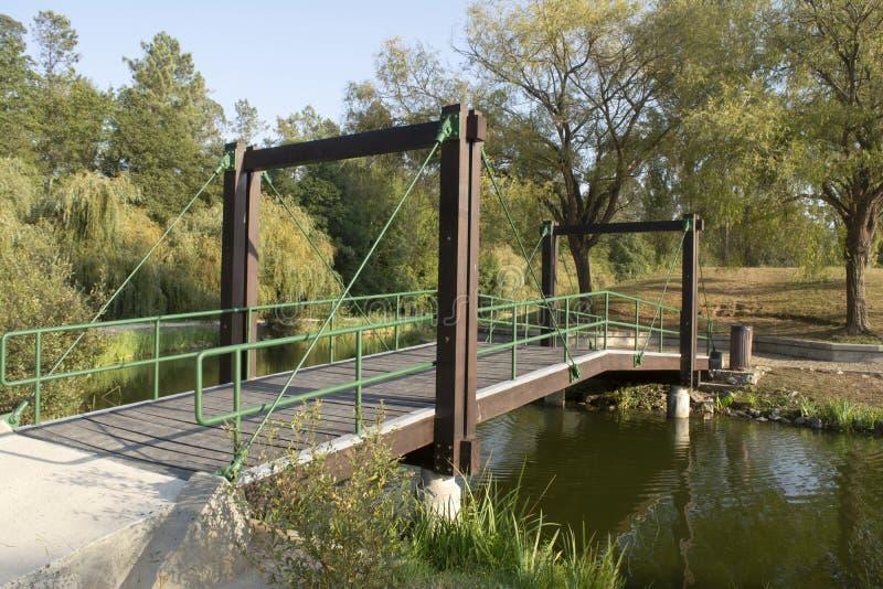 Drewniany most w parku zdjęcie royalty free