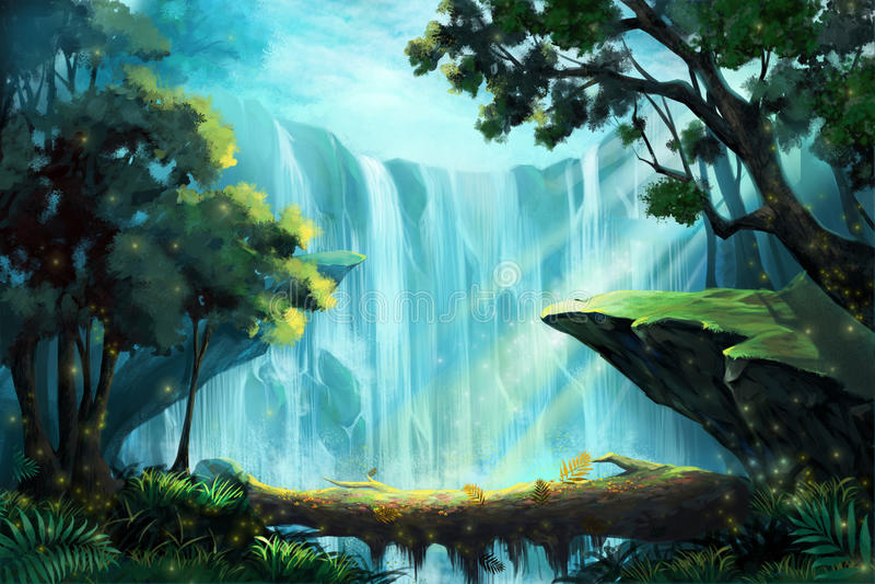 Drewniany mosta inside Głęboki las blisko siklawy ilustracji
