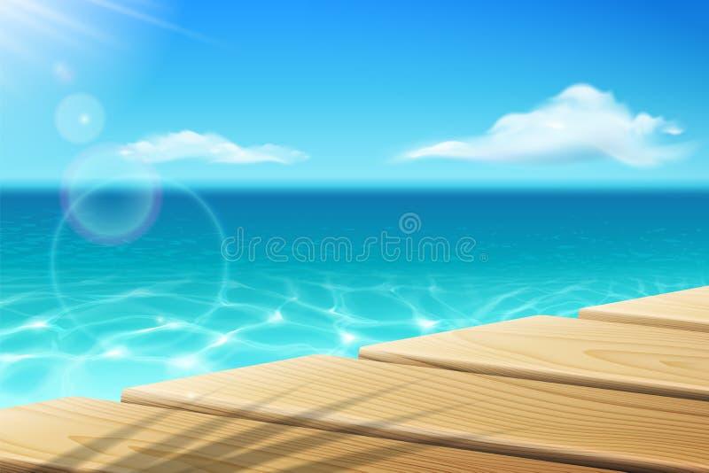 Drewniany nabrzeże, molo, dok przy morzem, ocean i światło słoneczne, royalty ilustracja