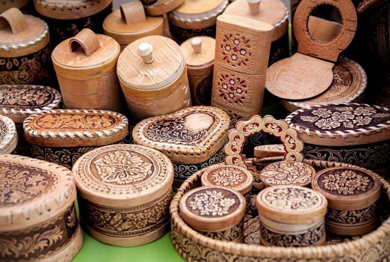 Drewniany naczynie przy rynkiem obrazy stock