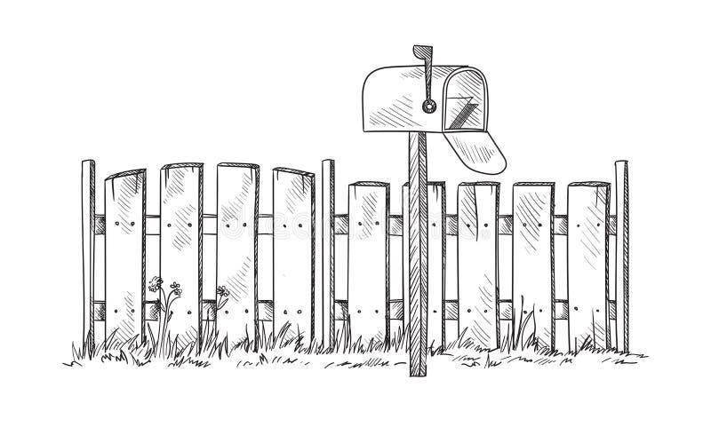 Drewniany nakreślenia ogrodzenie z postbox royalty ilustracja
