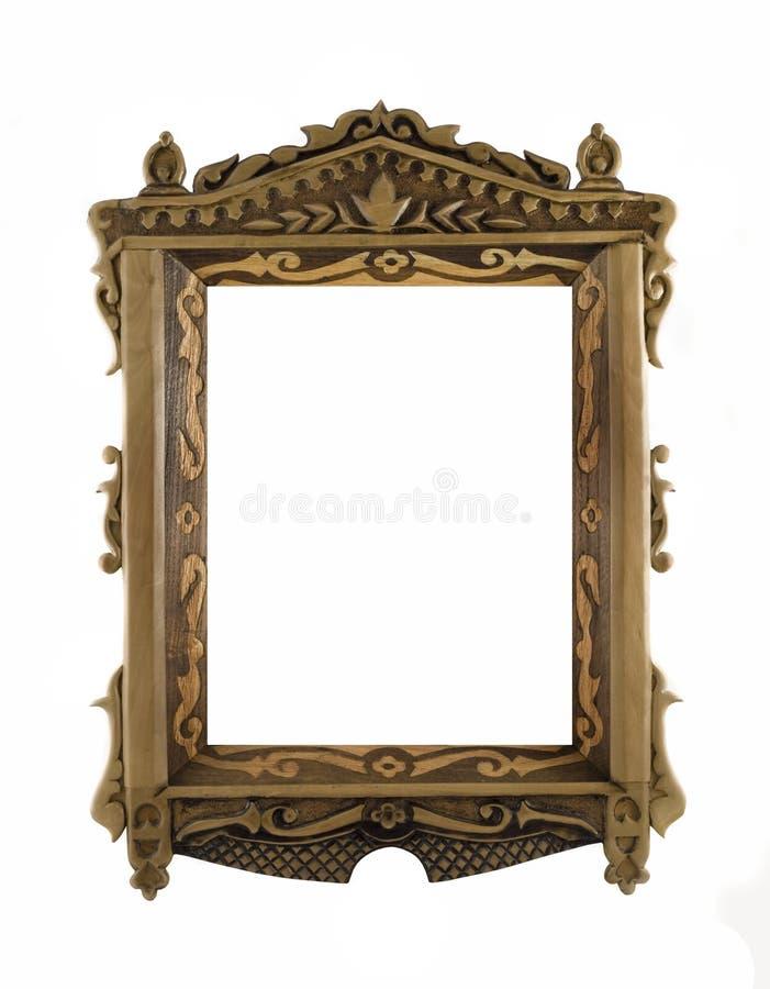 drewniany obrazka rzeźbiący ramowy portret obrazy stock