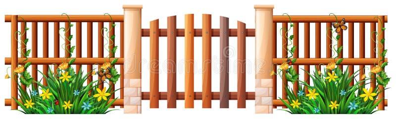 Drewniany ogrodzenie i brama ilustracja wektor