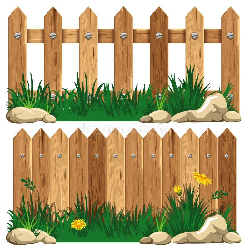 Drewniany ogrodzenie i trawa ilustracja wektor