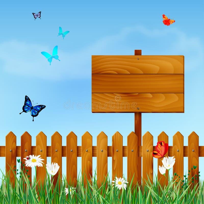 Drewniany ogrodzenie i znak na łące z kwiatami i motylami ilustracja wektor