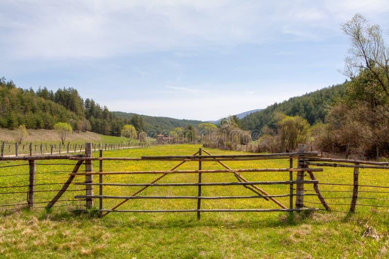 Drewniany ogrodzenie na zielonej łące zdjęcia stock